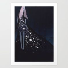 A print of a graceful, pink-haired lady wearing a stunning celestial dress. | 35 Celestial Products That Will Light Up Your Life