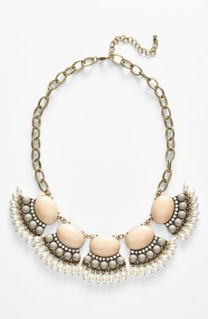 Pearls & crystals | Bead fringe statement necklace.
