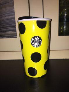 Starbucks Yellow Black Polka Dot Traveler Tumbler Ceramic Coffee Mug Cup BEE  | eBay
