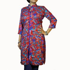 ABHISAR Kurti 013.Main: This Cotton-Viscose Long Kurta is a perfect blend of fashion with elegance. The floral prints add aura to the dress. It's light weight and soft texture makes it suitable for regular wear. When paired with minimum jewelries, it's perfect for office or a day out. Match the kurta with any cotton or silk bottom for the perfect look.