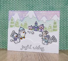 Lawn Fawn | Winter Penguin; Ready, Set, Snow | Mama Elephant | Snow Capped Mountains