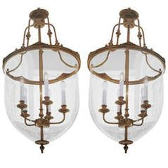 2 French Modern Neoclassical Chandeliers / Lanterns.
