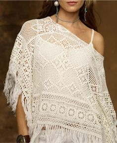 Denim & Supply Ralph Lauren Top, Crochet Pullover Poncho - Womens Sweaters - Macy's