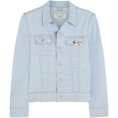 Maison Kitsuné Western denim jacket ($155) ❤ liked on Polyvore featuring outerwear, jackets, tops, light denim, denim jacket, blue jean jacket, cowboy jacket, western denim jacket and colorful jackets