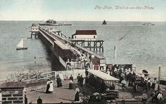 An Old Photo of the Pier at Walton On The Naze Essex England Walton On The Naze, Essex England, Beach Huts, Old Photos, Seaside, Paris Skyline, Travel, Old Pictures, Viajes