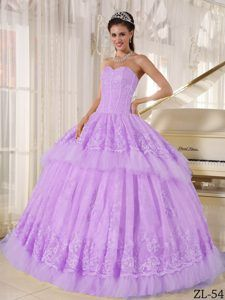 Sweetheart Organza Quinceanera Gown Dresses with Appliques in Lavender