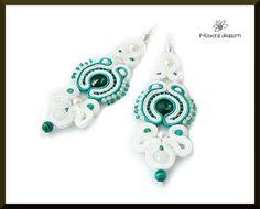 Soutache earrings bride wedding white emerald by Mayasbijou  €21.86 EUR on Etsy.com