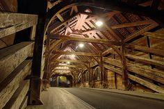 Holzbrücke (wooden bridge), Baden (or Baden bei Zürich), Switzerland. Ancient Buildings, Timber Frames, Covered Bridges, Wood Construction, Switzerland, Natural Beauty, Shape, Nature, House