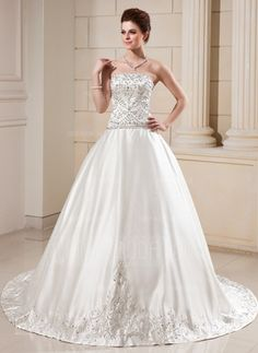 Ball-Gown Strapless Cathedral Train Satin Wedding Dress With Embroidered Beading Sequins #wedding #dress
