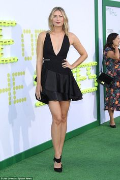 Gorgeous: Maria Sharapova, 30, looked fetching showing off her glamorous side as she attended the premiere of Battle of the Sexes in Los Angeles at the Regency Village Theatre on Saturday