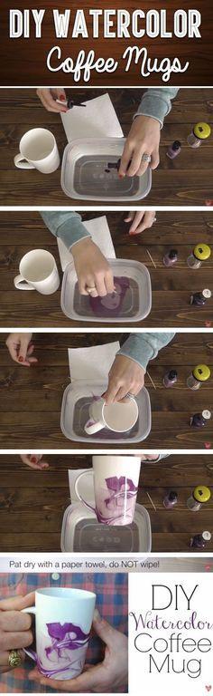 DIY Watercolor Coffee Mug