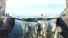 Nervenkitzel auf 2 Etagen - Chinesen bauen unsichtbare Brücke