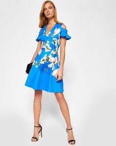 Harmony cold shoulder dress - Bright Blue | Dresses | Ted Baker UK