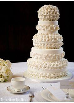 4-layered Plain white wedding cake