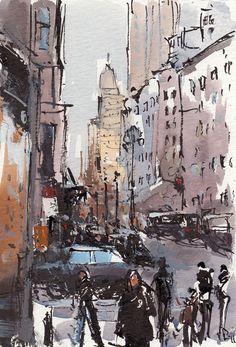 Art Print City Street People Modern Painting Sketch