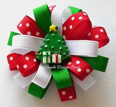 Christmas Hair Bow with Tree .