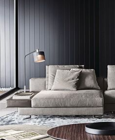 Black panelled wall, lounge seating, Minotti Kiddi Joy black lacquered table lamp Any individual can generate a property sweet house, even w. Living Room Modern, Interior Design Living Room, Living Room Designs, Lounges, Timber Panelling, Paneling Walls, Mid-century Interior, Decoration Inspiration, Lamp Inspiration