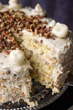 Italian cream cake is sure to be a show hu Italian food and drinks stopper for any special occasion. Coconut, pecans and a rich cake team with homemade cream cheese frosting. Italian Cream Cakes, Italian Cake, Italian Cream Cheesecake Recipe, Best Italian Cream Cake Recipe, Italian Desserts, Just Desserts, Delicious Desserts, Yummy Food, Tasty