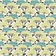 Image of Sanderson Tree Tops Teal/Linden Curtain Fabric 222707