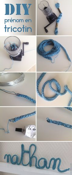 diy: knit a rope in any color then run a thin wire down the middle and bend it into a name, a word or any shape. PS. can also do this with ready-made hollow rope.