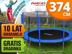 Trampolina ogrodowa 12ft/374cm z siatką zewnętrzną i drabinką Neo-Sport