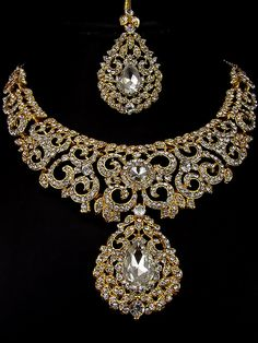 Conspicuous gold plated brass metal #Necklace. Item code : JPD82192 http://www.bharatplaza.com/new-arrivals/jewellery.html