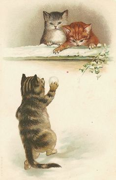 vintage Christmas cats