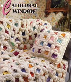 Rambling Ivy Caravan: Cathedral Window Traditional Quilt Afghan and Pillow Crochet Pattern