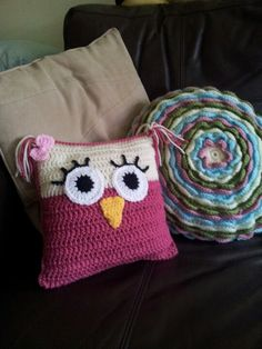 Crochet owl cushion.  This could be altered to be an Angry Bird pillow instead.