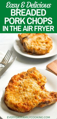 Make these easy and delicious Breaded Pork Chops in the air fryer with our recipe. A quick air fryer recipe the entire family will love! Air Fry Recipes, Air Fryer Dinner Recipes, Lunch Recipes, Meat Recipes, Easy Dinner Recipes, Appetizer Recipes, Cooking Recipes, Cooking Tips, Dinner Ideas