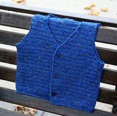 Items similar to Hand Crocheted Little Boy's Blue Sweater Vest - Size - on Etsy Crochet Men, Crochet Baby Sweaters, Crochet Jumper, Crochet Baby Boots, Crochet Fall, Crochet For Boys, Sweater Knitting Patterns, Vintage Crochet, Crochet Clothes