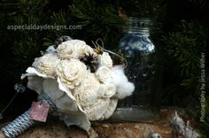 Sola wood and cotton bouquet, Placerville, CA but can be shipped worldwide http://aspecialdaydesigns.com