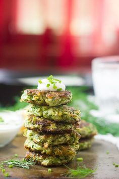 Vegan Zucchini Fritters with Garlic and Dill