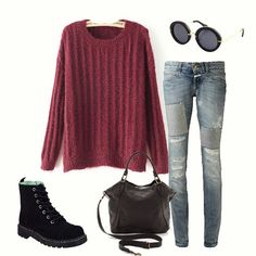 Red Round Neck Long Sleeve Loose Knit Sweater