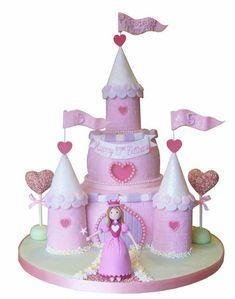 Bolos decorados de castelos de princesa - http://www.boloaniversario.com/bolos-decorados-de-castelos-de-princesa/