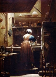 I LOVE pieces like this...daily life giving us a glimpse into the past. The kitchenmaid (1720) by Giuseppe Maria Crespi