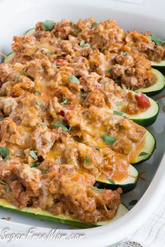 "This savory and spicy ""taco"" recipe replaces the tortillas with zucchini boats! The filling is protein-filled, low-carb and perfect for leftovers too!"