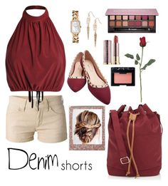 """""""Date Night Beige Denim Shorts"""" by medgurl ❤ liked on Polyvore featuring Étoile Isabel Marant, Herschel, Polaroid, Wet Seal, Chanel, Anastasia Beverly Hills, Urban Decay, NARS Cosmetics, jeanshorts and denimshorts"""