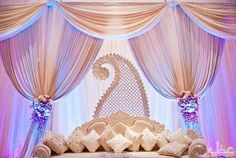white, lilac, and pink stage