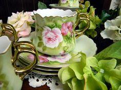 4:00 Tea...Lefton...Heritage handpainted floral teacup and saucer