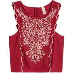 Embroidered Blouse $29.99 ($30) ❤ liked on Polyvore featuring tops, blouses, embroidery blouse, red embroidered top, sleeveless blouse, woven top and red top