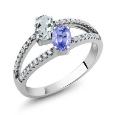 Gem Stone King 0.84 Ct Round London Blue Topaz Blue Tanzanite 18K Rose Gold Plated Silver Ring