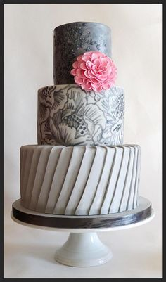 - Three tiers with pleats, edible gelatin sequins and handpainted with cocoa butter.