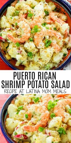 Mayo free shrimp potato salad is a great and unique spin to your typical potato salad. Bursts of citrus and spices transport you to the tropical islands! Boricua Recipes, Comida Boricua, Shrimp Recipes, Salad Recipes, Mexican Food Recipes, Ethnic Recipes, Unique Recipes, Cinnamon Health Benefits, Pollo Guisado