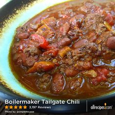 "Boilermaker Tailgate Chili | ""So amazing. Made exactly as directed, no substitutes. It does take a lot of time to make, but the effort is worth it. I froze half of it and when I thawed it and reheated it later it was just as good, if not better! This recipe is a real winner. One of my faves from the site."""