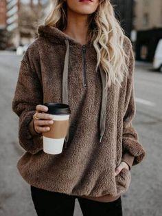 2d7e1a003b Plain Regular Flocking Winter Long Sleeve Hoodie #fashionclothing  #womenclothing #hoodies #goodlooking #