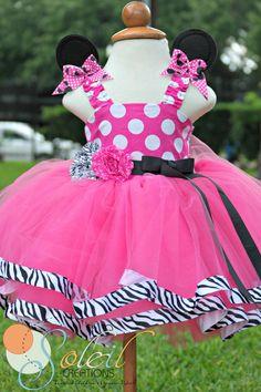 Zebra Pink Minnie Mouse Dress Tutu birthday by SCbydesign Mini Mouse Tutu, Pink Minnie Mouse Dress, Minnie Mouse Theme Party, Minnie Birthday, Girl Birthday, Birthday Ideas, Birthday Tutu, Little Girl Dresses, Girls Dresses