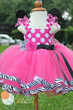 Zebra and Pink Dot Minnie Mouse Tutu Dress by SoleilCreations.com