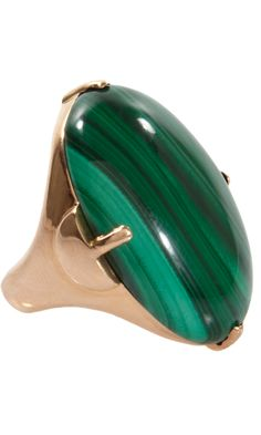 Jack Vartanian Malachite Bombe Ring | 18k rose gold 'Bombe' ring with ovular, malachite cabochon in pronged setting.