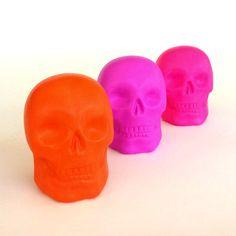 Ceramic Skulls Modern Halloween Trio Painted Neon Orange Pink Purple by sewZinski